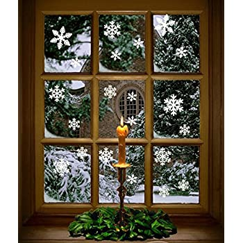102 pcs white snowflakes window clings decal stickers christmas winter wonderland decorations ornaments party supplies 5 sheets - Christmas Window Decorations Amazon