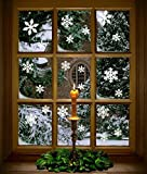 81 pcs White Snowflakes Window Clings Decal Stickers Christmas Winter Wonderland Decorations Ornaments Party Supplies (3 Sheets)