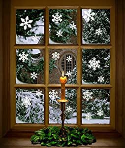 Amazon.com: 102 pcs White Snowflakes Window Clings Decal ...
