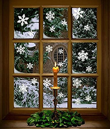 Amazoncom Pcs White Snowflakes Window Clings Decal Stickers - Window decals amazon