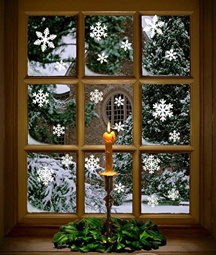 Christmas Window Clings - 102 pcs White Snowflakes Window Clings Decal Stickers Christmas Winter Wonderland Decorations Ornaments Party Supplies (5 Sheets)