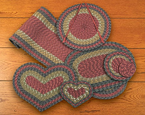 Burgundy/Olive/Charcoal Cotton Braided Heart Table Top Set w/ 13in.x48in. Runner - 11 Piece ()