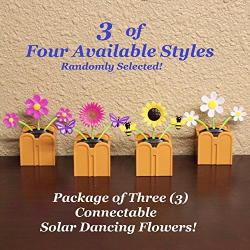 Buy Bargain Clear Lake New Connectable Solar Dancing Flowers - Package of 3