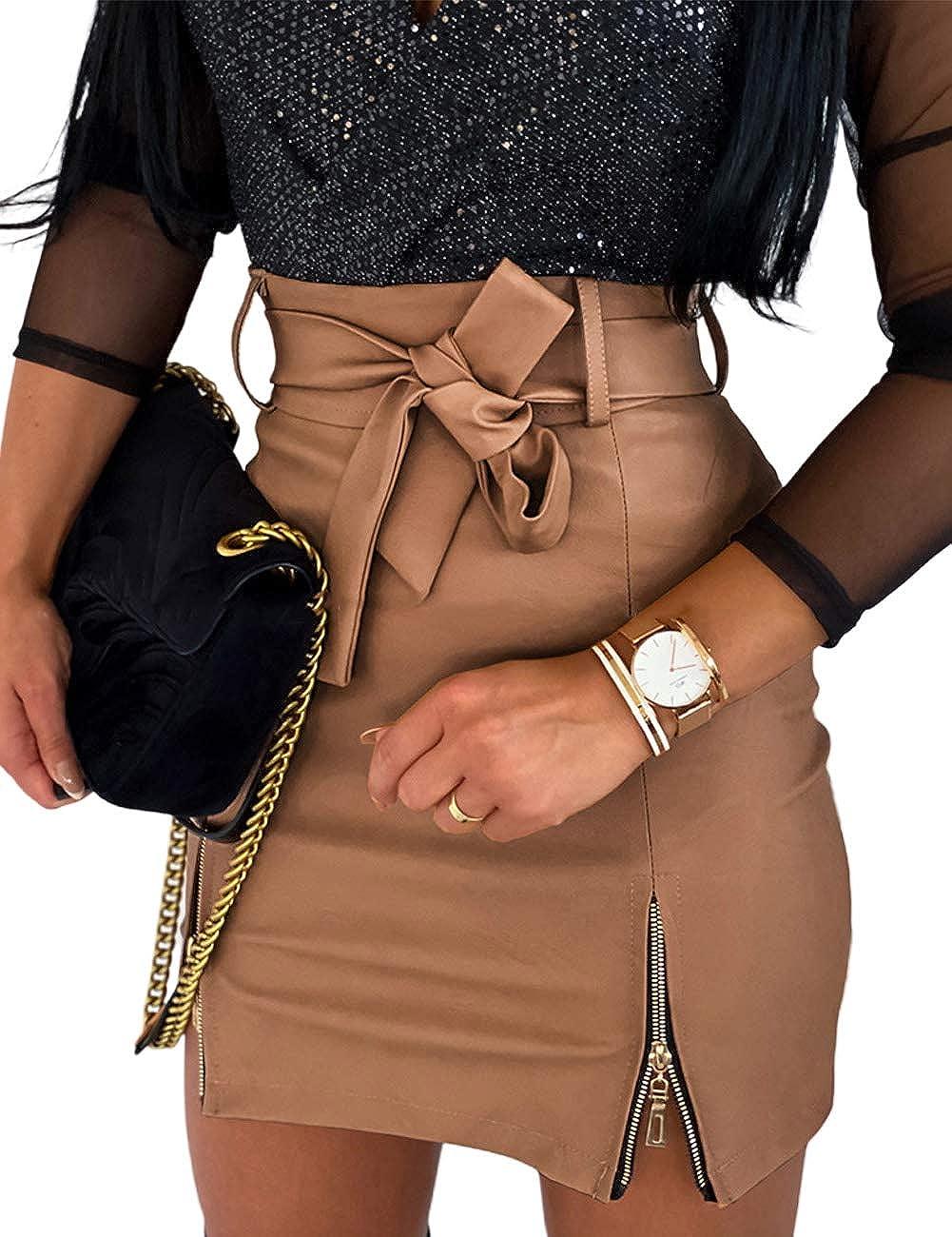 CHICME Women Sexy High Waist Faux Leather Zipper Detail Adjustable Belt Mini Skirt