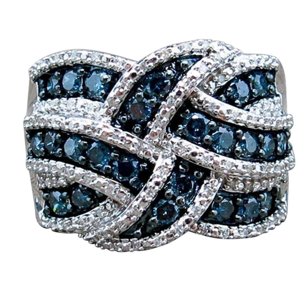 Sinwo Women Elegant Exquisite Diamond Cylindrical Rings Fine Ring Engagement Ring Gift (6, Blue)