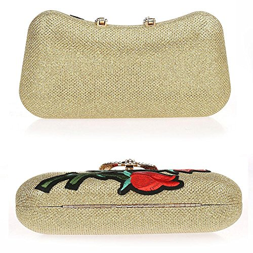 gold Clutch bag Party X4cm NVBAO Dinner handbag evening X Women's 11 Rhinestone Purse£¬ embroidery 21 banquet Wedding YavRUqn