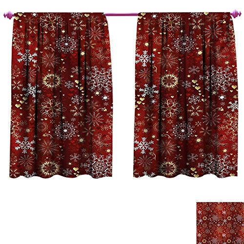 (cobeDecor Winter Patterned Drape for Glass Door Old Fashioned Christmas Mix with Hearts and Swirls Vintage Festive Composition Thermal Insulating Blackout Curtain W72 x L45 Ruby Gold White )