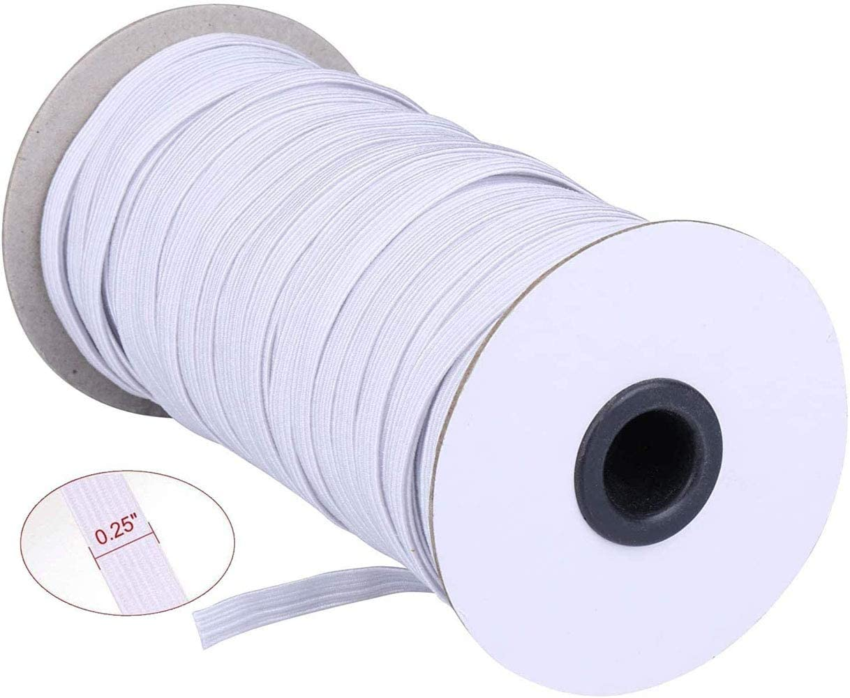 Itopfox 70 Yards Briaded Elastic Band 1//4 inch with Free Tape,Heavy Stretch High Elasticity Knit Spool for Sewing Crafts