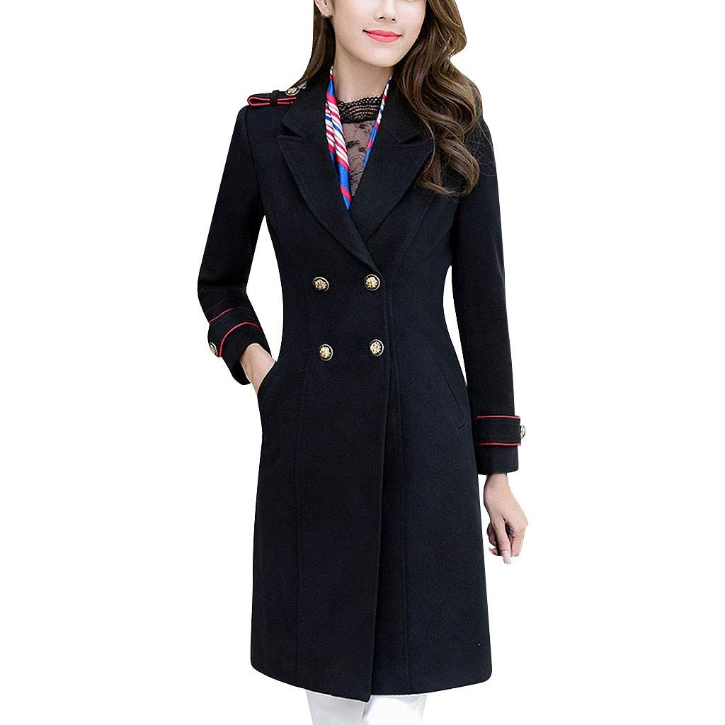 Yanvan Women Outdoor Double Breasted Coat Jacket Professional Wear Medium and Long Jacket Thick Woolen Cotton Coat by Yanvan