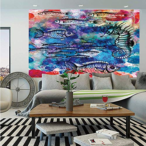 SoSung Fish Seahorse Coastal Decor Wall Mural,Sea Creatures Watercolor Painting Effect Batik Print Decorative,Self-Adhesive Large Wallpaper for Home Decor 55x78 inches, ()