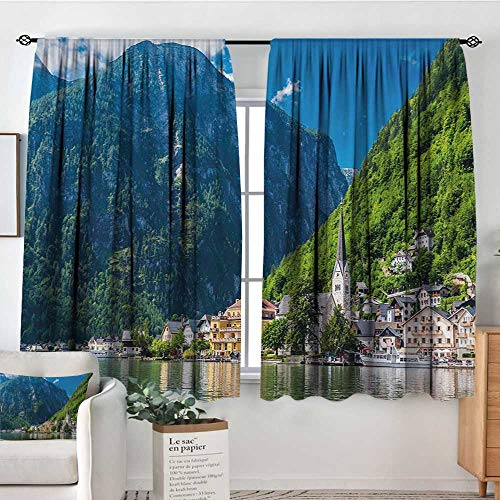 Landscape Window Curtain Drape Natural View of Hallstatt in Austria Mountains Forest Town Houses Clear Sky Door Curtain Blackout 55
