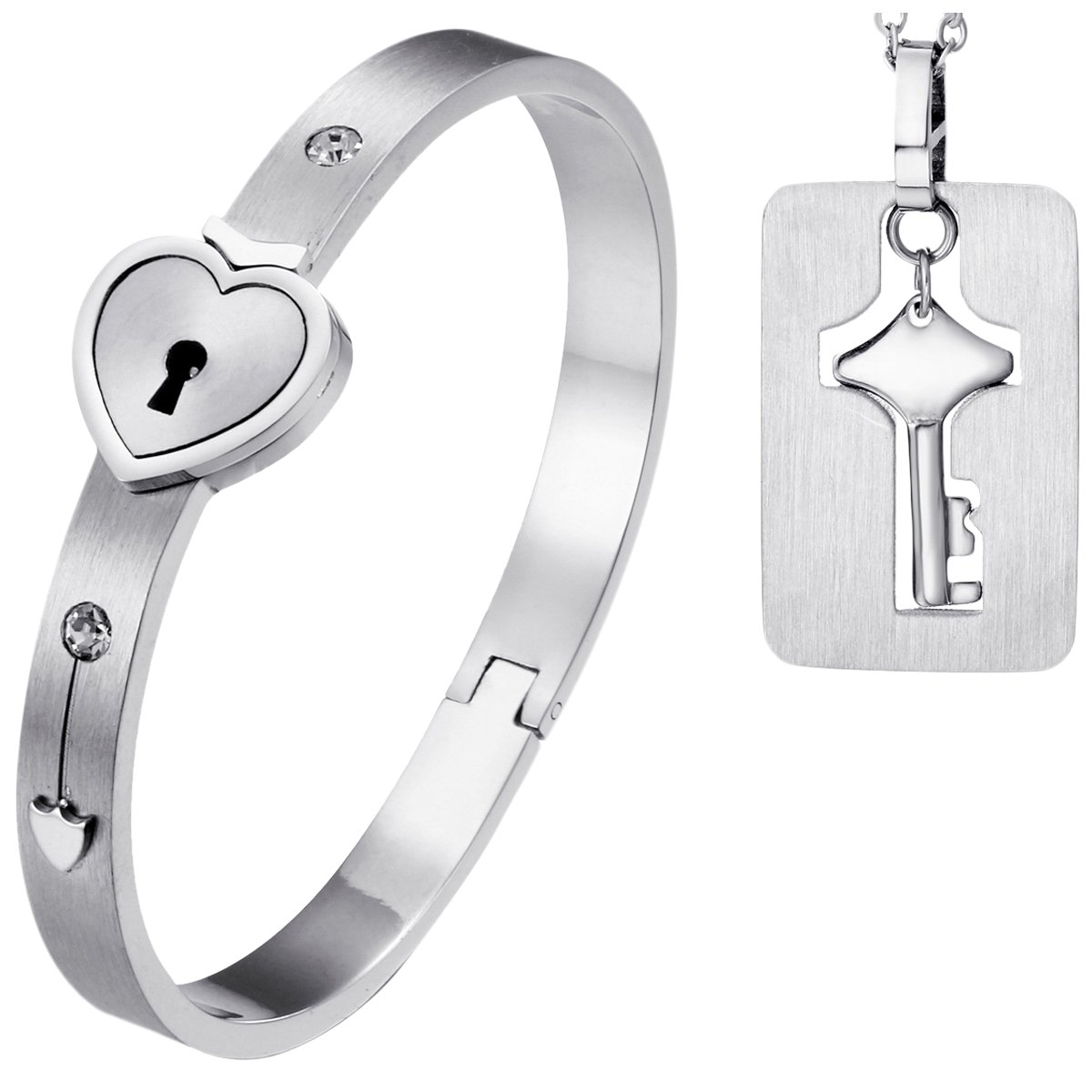 Oidea 2pcs His and Hers Love Heart Lock Matching Bangle Bracelet for 5.5-6 Inch Wrist, Tag Pendat Necklace by Oidea