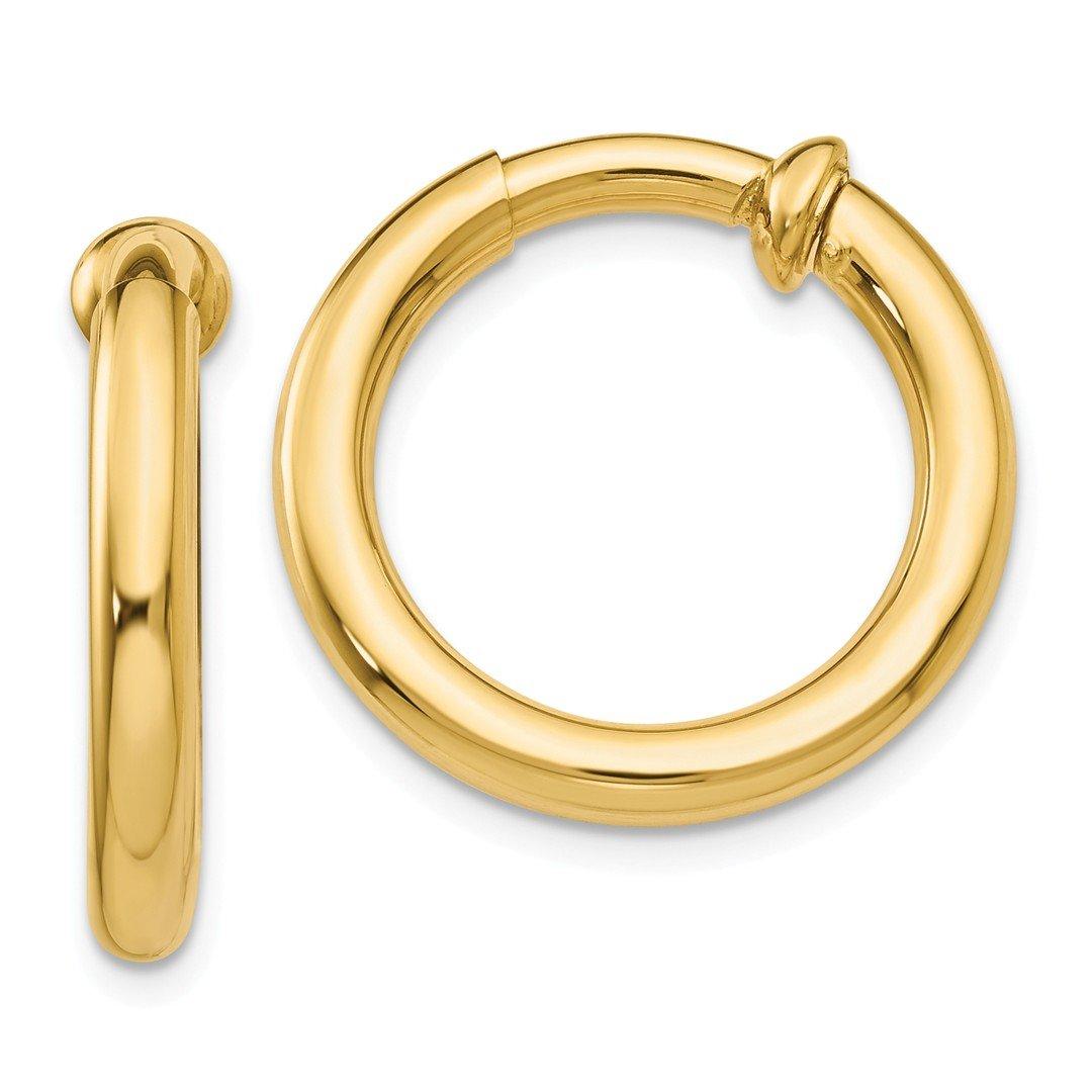 ICE CARATS 14k Yellow Gold Non Pierced Clip On Hoop Earrings Ear Hoops Set Fine Jewelry Gift Set For Women Heart