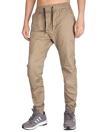 9dfa6dd2fb1d6 ITALY MORN Homme Casual Jogging Chino Pantalons Sport Slim Fit Pants (XS,  Kaki)