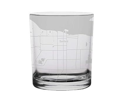 Map Of Sanford Florida.Amazon Com Sanford City Map Whiskey Glass Florida Glassware