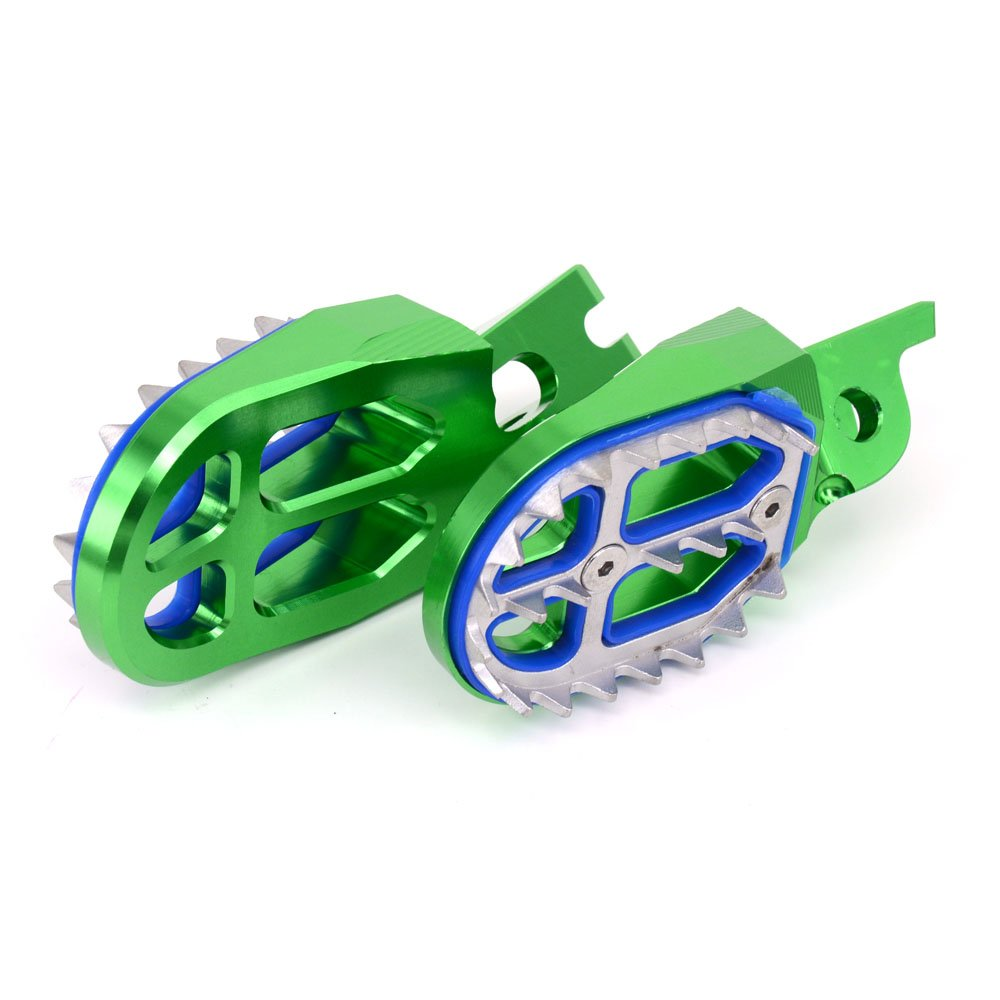 CNC MX Wide Foot Pegs Footpegs Foot Pedals Rests Green Kawasaki KX250F 2006-2016 KX450F 2007-2017 KLX450R 2008-2013