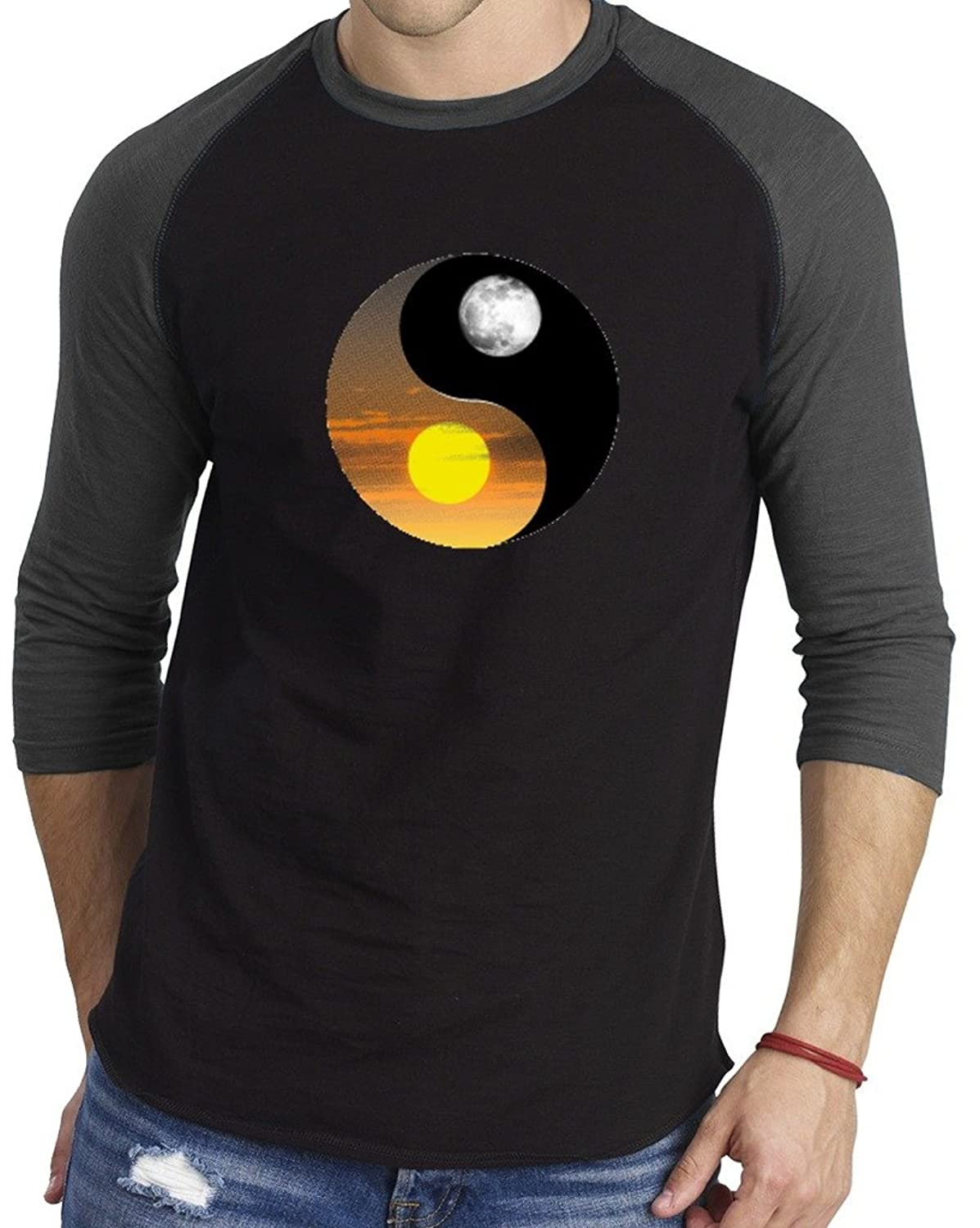 Men's Sun Moon Ying Yang Baseball Athletic 3/4 Sleeve Men's T Shirt