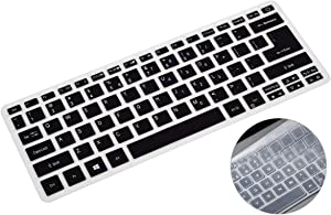 2 Pack Silicone Keyboard Cover for Acer Swift 3 14 inch SF313-51 SF314-42/52/53/54/55/57, Acer Spin 3 SP314-51/52/53N/53GN Keyboard Skin Protector Accessories(Black+Clear)