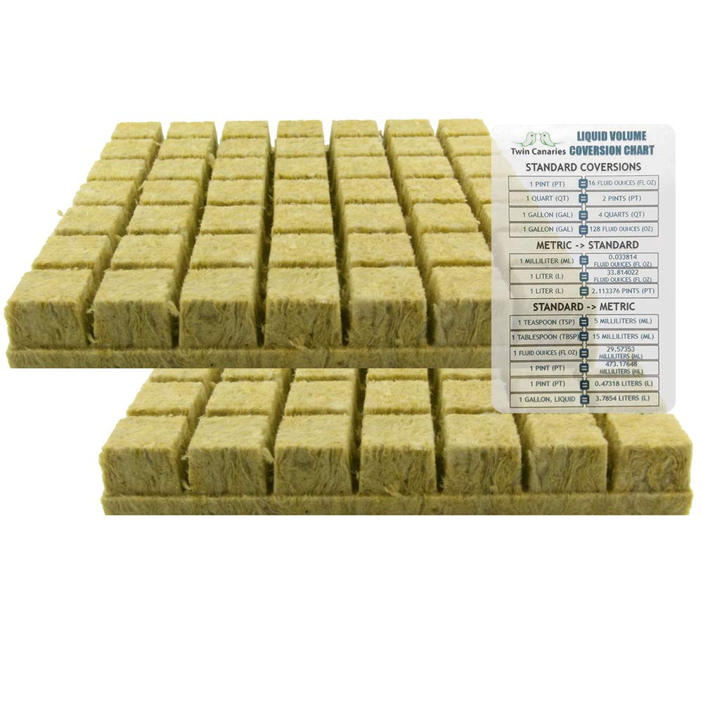 1.5'' Rockwool Starter Plugs, 2 Sheets of 49 Plugs (98 Plugs Total) + Twin Canaries Chart by Twin Canaries Liquid Volume Conversion Chart