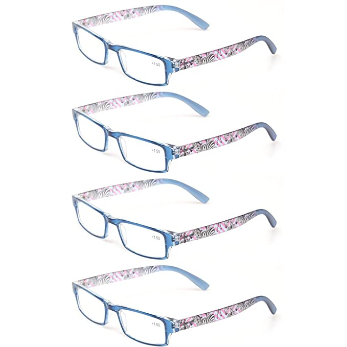 03ed77a12a3c Reading Glasses Set of 4 Fashion and Elegant Ladies Readers With Patterns  Design for Women (