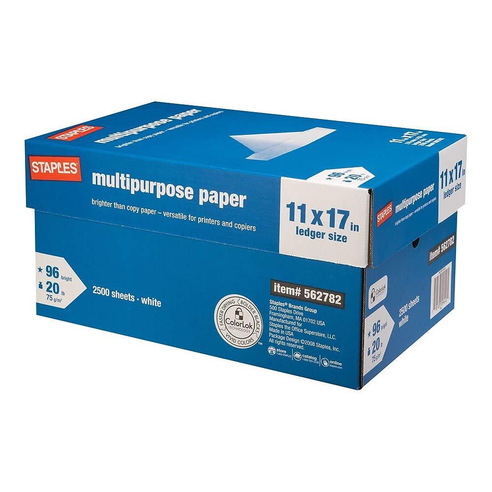 STAPLES StaplesMultipurpose Paper, 20 Lb, 96 Bright, 11'' x 17'', White, 5-Ream Case (05032) (5-Ream Case)