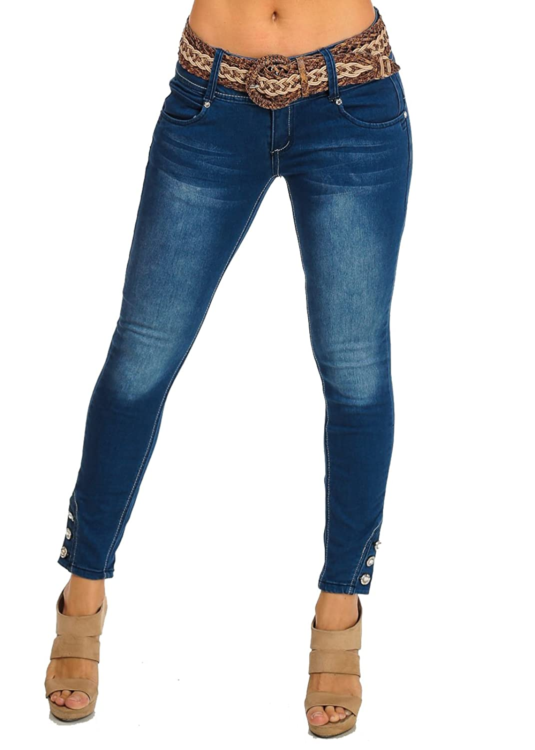 Erotic Touch Cropped Blue Denim Washed Low Rise Ankle Jeans with Belt 10542M