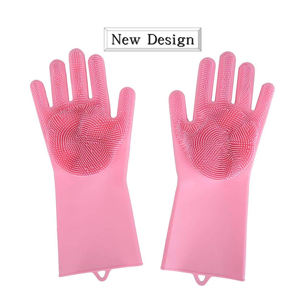 Magic Silicone Gloves with Wash Scrubber Dish Scrubber Heat Resistant Glovesfor Cleaning, Household,Washing the Car,Pet Hair Care (Blue)