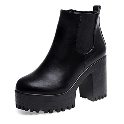 Sonnena Womens Boot Womens Chunky Block Heel Chelsea Ankle Boots ...