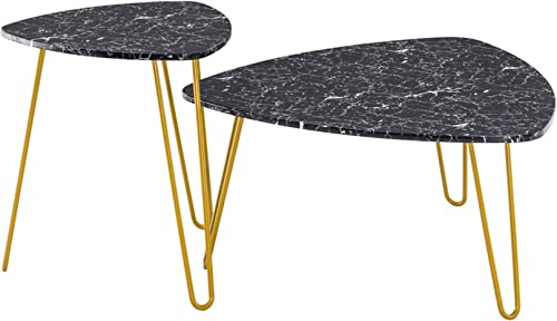 20.1 x 20.1 x 22.8 Marble Iron Foot Coffee Table Side Table Set of 2 Black