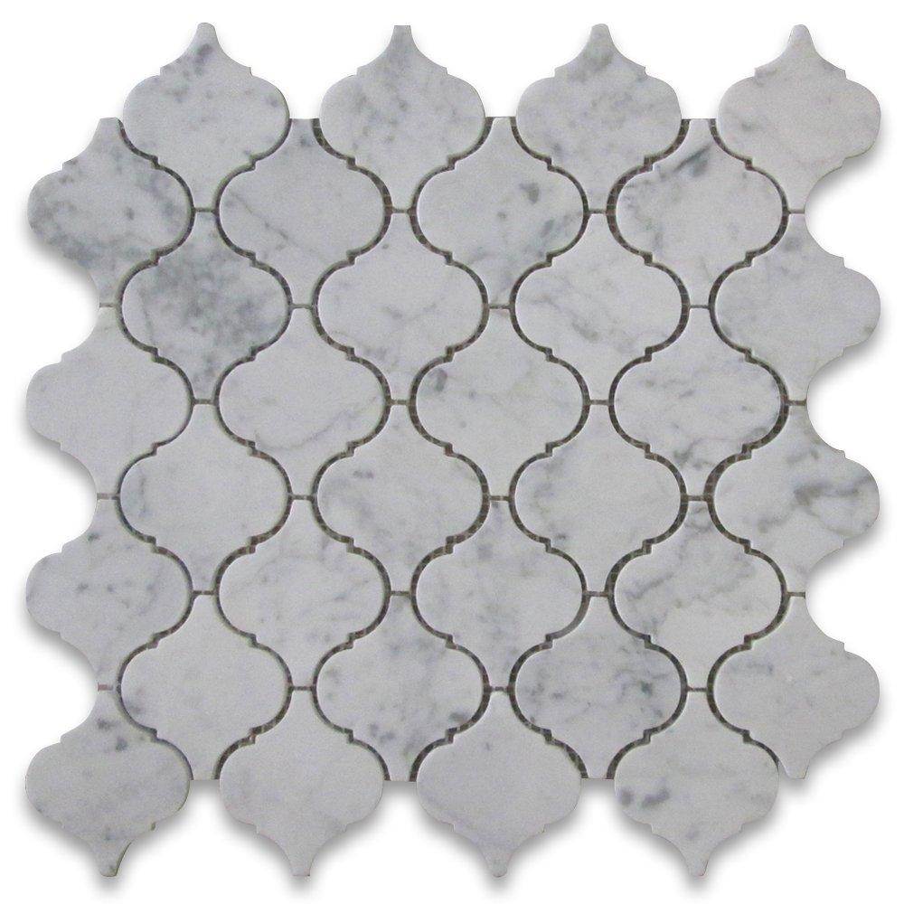 Carrara White Italian Carrera Marble Medium Lantern Shaped Arabesque Baroque Mosaic Tile Polished