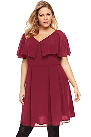 b261581bc1 Betty-Boutique Women s Wine Plus Size Floaty Skater Dress Size 16-18 ...