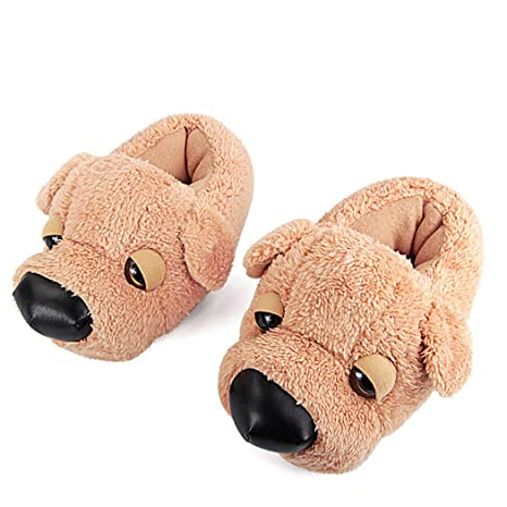4b88ef473e2392 Image Unavailable. Image not available for. Color  Nafanio Winter Fur Slippers  Women Animal Funny Cartoon Dog Indoor Home Flip Flops Warm Plush Furry
