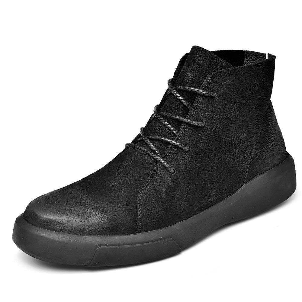 Dundun-Stiefel 2018 Neue Kommende Stiefel, Herren Knöchelarbeit Stiefel, Casual Vintage gebürstet Außensohle Schnüren Winter Faux Fleece Inside High Top Stiefel (Farbe   Schwarz, Größe   43 EU)