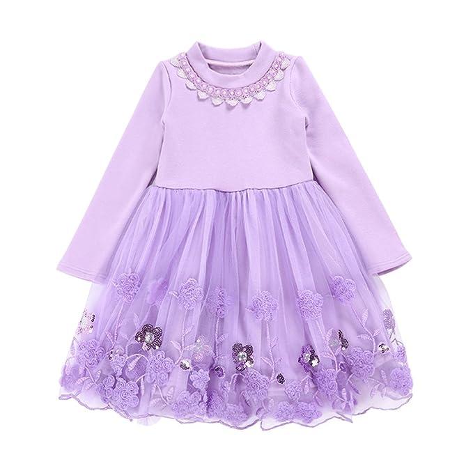YoungSoul Vestido floral de lentejuelas para niña, Vestidos de fiesta manga larga de invierno para