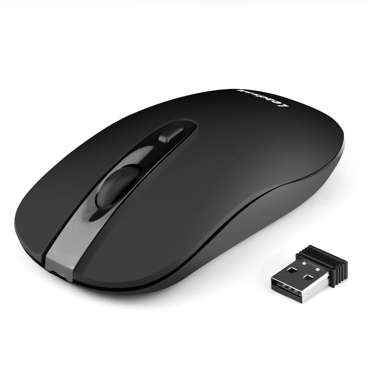 LeadsaiL Rechargeable Wireless Mouse,Computer Mouse Wireless,Cordless Mouse Silent Click,Mini USB Wireless Mouse Ergonomic,Gaming Mouse with Nano Receiver, 2.4G, 5 Adjustable DPI Up to 2400