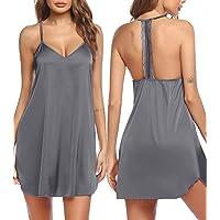 Ekouaer Women Nightgowns V Neck Short Sleeve Sleepwear Soft Midi Sleep Dress S-XXL