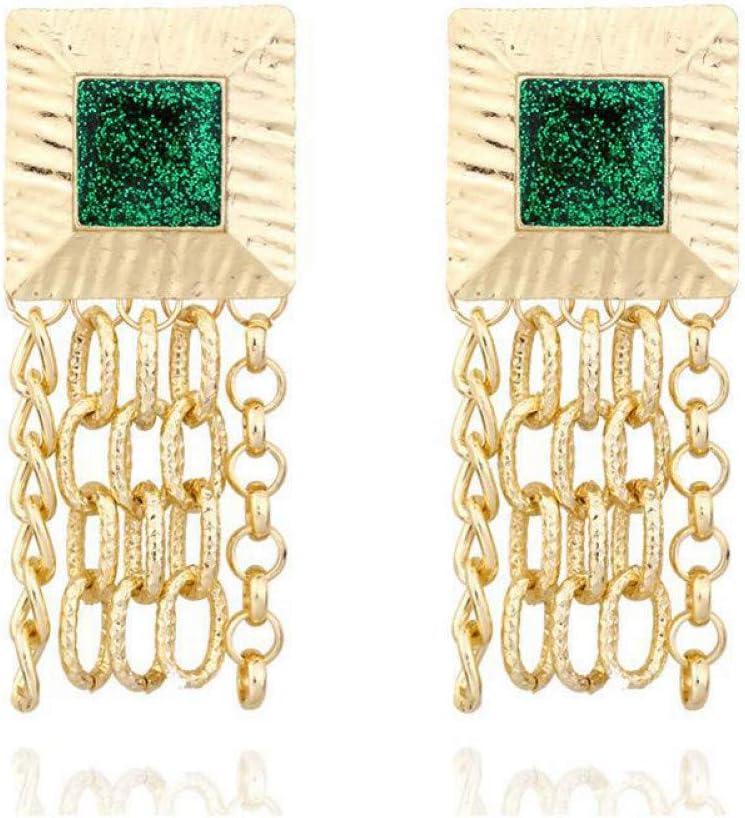 SSEHXL Pendientes Pendientes Colgantes de Color Oro Cadena de Metal Pendientes Largos de la Borla Piedra geométrica Pendiente de Gota para Las Mujeres Regalo