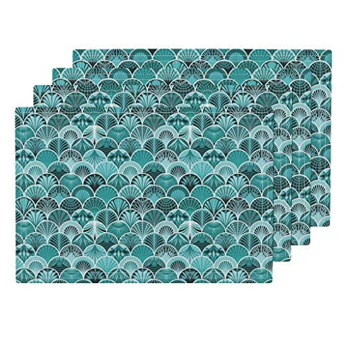 Roostery Peacock 4pc Linen Cotton Canvas Cloth Placemat Set - Fish Scale Aqua Flapper Palm Leaf Propeller by Lucinderella (Set of 4) 13 x 19in (Scale Propeller)