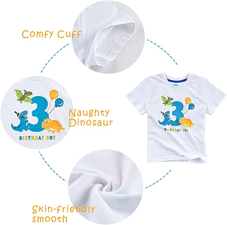 Boy Dino B-Day Themed Party T-Shirt Tee Gift AMZTM Dinosaur Birthday T Shirt