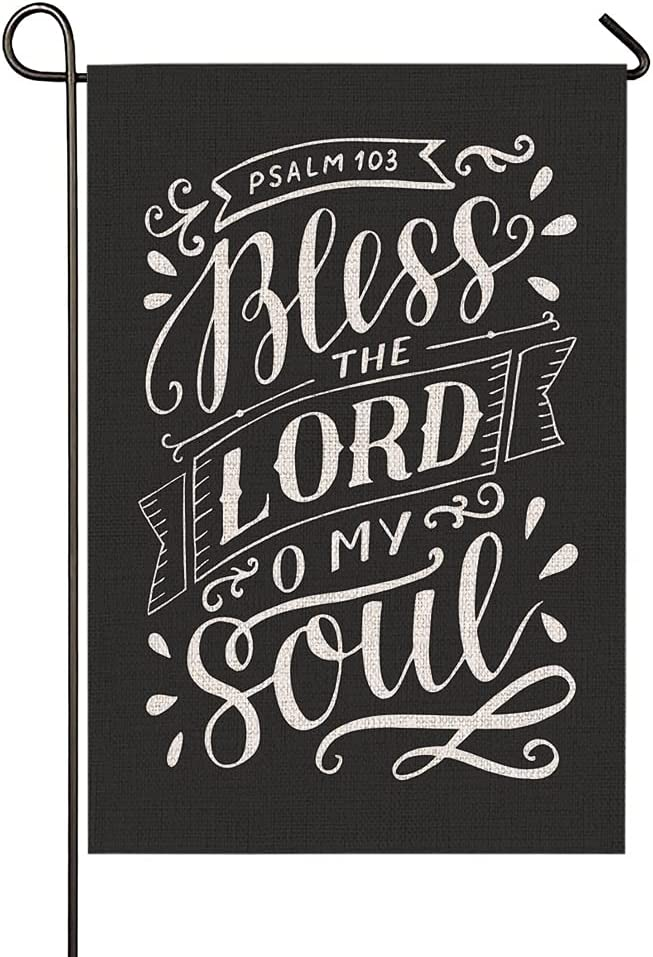 HOSNYE Bless The Lord Garden Flag Vertical Double Sided O My Soul Psalm Biblical Testament Quote Bible Verse Rustic Farmhouse Flag Yard Outdoor Decoration 12.5 x 18 Inch