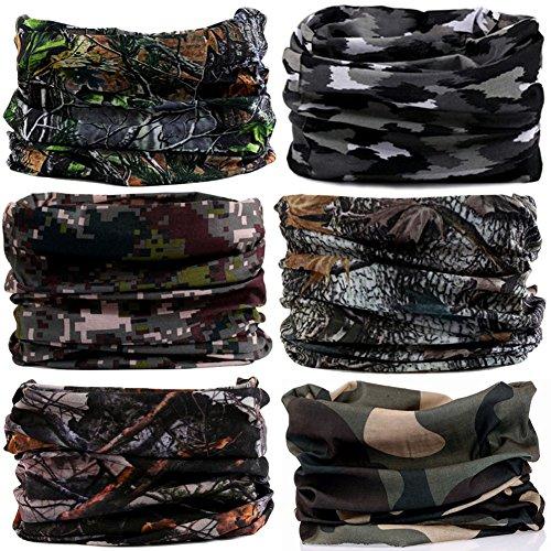 6PCS/9PCS/12PCS Multifunctional 16-in-1 Yoga Sports Fashion Travel Colors Headband Seamless Neck Uv Solid Moisture Wicking Bandana Hair Turban Scarf (6pcs-3camouflage) (Gift Italiano)