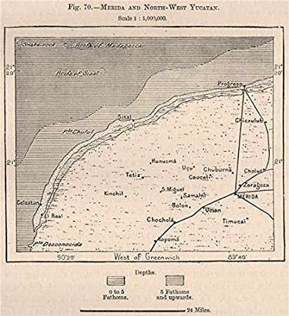 Amazon.com: Merida and North-West Yucatan. Mexico - 1885 - old map on map of vegas beach, map of italy, map of playa del carmen attractions, map of cancun, map of celestun, map of pacific lowlands, map of costa rica, map of hadramawt, map of isla mujeres, map of caribbean, map of patzcuaro, map of mexico, map of taxco, map of merida, map of quintana roo, map of riviera maya, map of belize, map of punta allen, map of mahahual, map of veracruz,