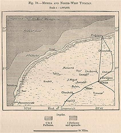 amazon com merida and north west yucatan mexico 1885 old map
