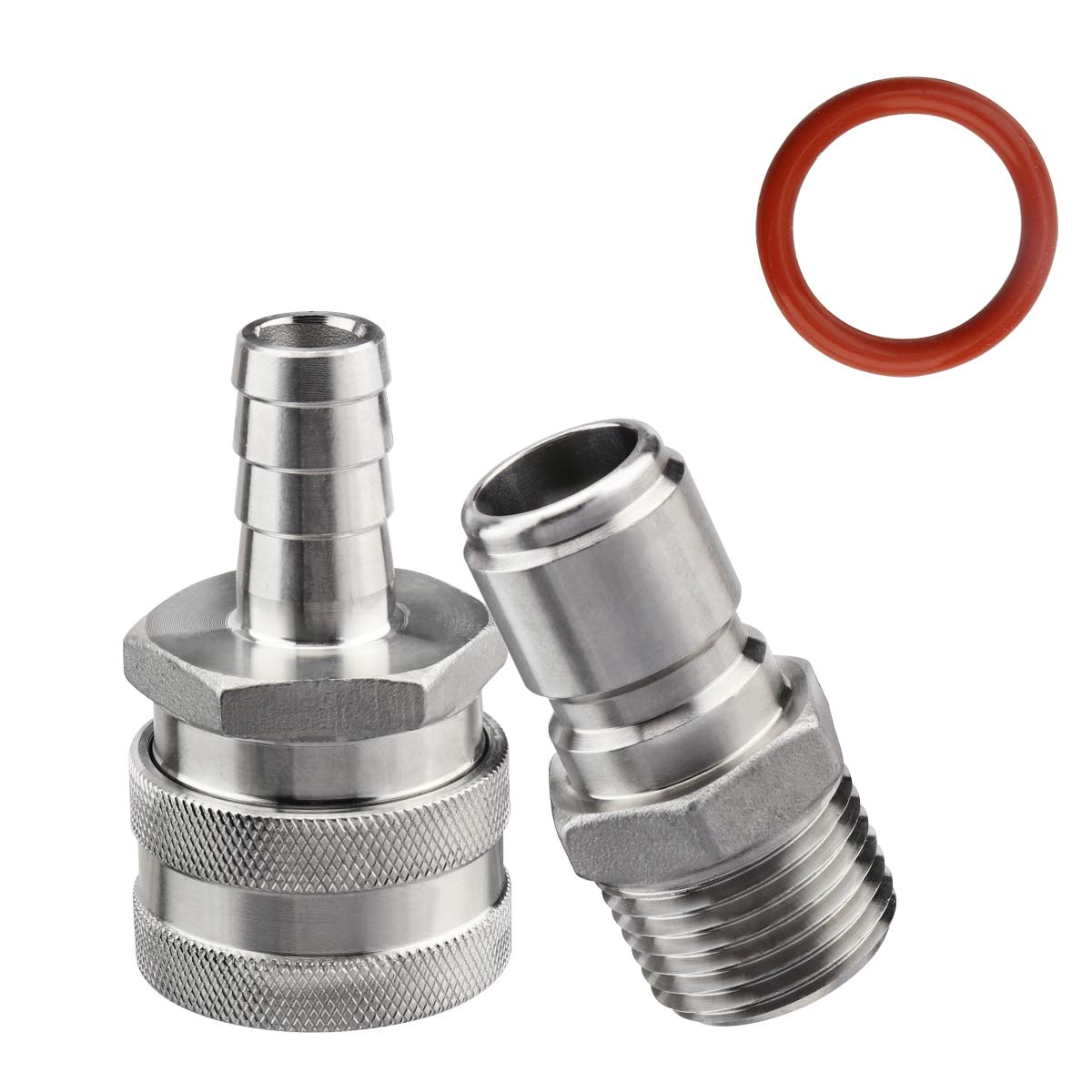 Ferroday Stainless Steel Quick Disconnect Set 1/2 NPT Male Disconnect 1/2'' Barb Brewing Quick Disconnect For Ball Valve (MFL, Nipple Fitting)