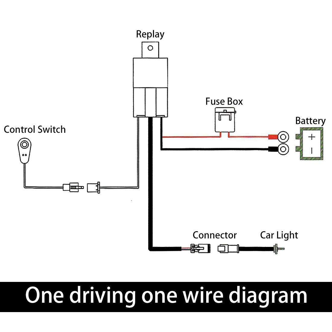 amazon com uxcell 10ft 40a 12v led work fog light bar wiring rh amazon com Led Shop Light Wiring Diagram 12V LED Wiring Diagram