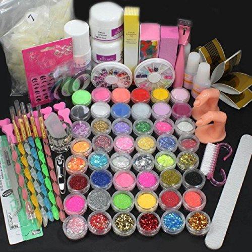 Kingfansion Pro Acrylic Liquid Nail Art Brush Glue Glitter Powder Buffer Tools Set Kit Tips