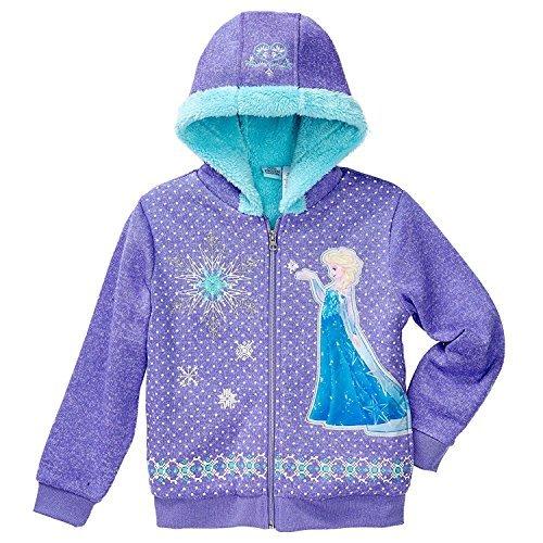 Princess Disney Little Girls Zip-Up Fleece Jacket with Hood (Purple, -