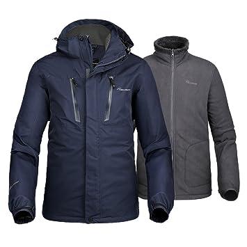 OutdoorMaster Mens 3-in-1 Ski Jacket - Winter Jacket Set with Fleece Liner