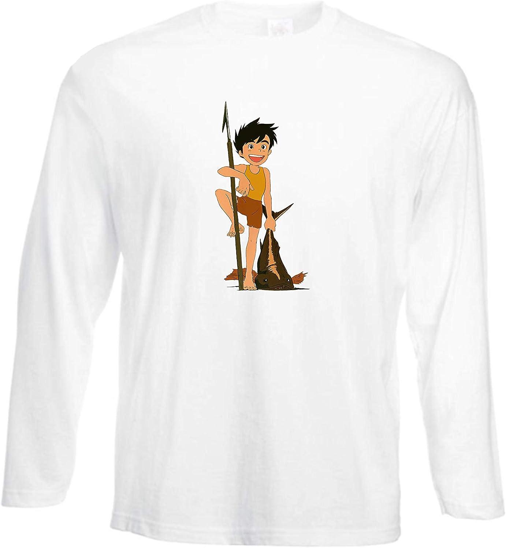 Tshirt Manica Lunga Uomo Il Ragazzo del Futuro Cartoni Anni 80 Puzzletee Tshirt Manica Lunga Conan Anime Tshirt Uomo Idea Regalo Tshirt in Cotone Anime Anni 80