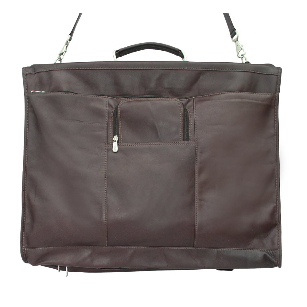 Piel 9428-CHC Leather Garment Bag with Detachable Hook - Chocolate B002JXUT1G